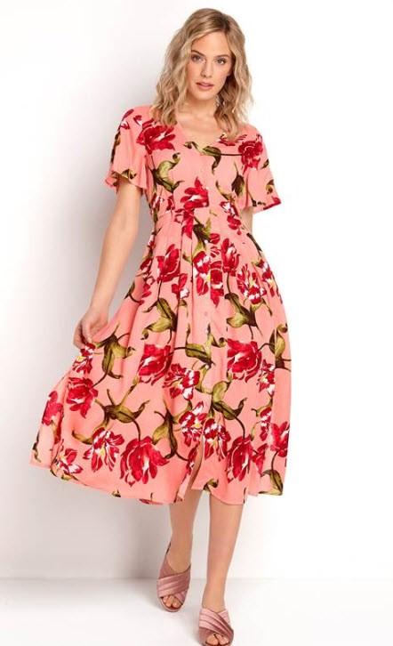 Happy Holly Denice rosa blomster kjole