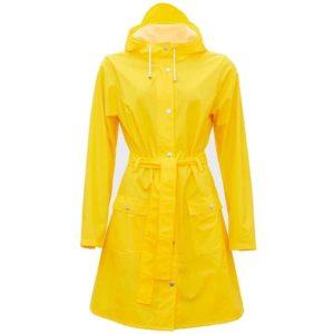 Rains Regnjakke Curve Yellow - med smarte linjer