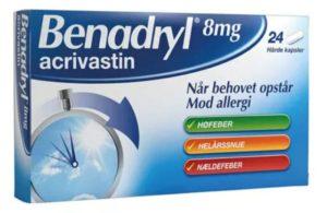 antihistamin benadryl for tømmermænd pille
