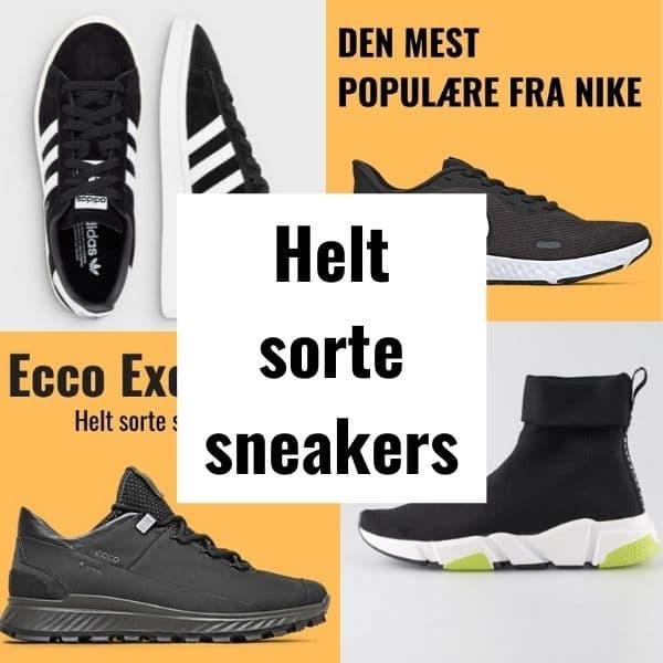 Helt sorte sneakers til damer kvinder